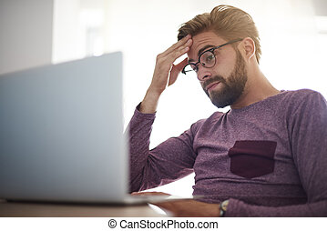 Man having problems with his work