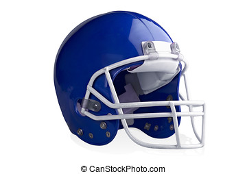 Football Helmet - Blue football helmet isolated on a white...