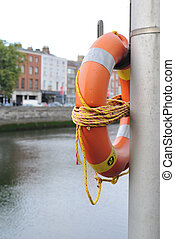 River Liffey - Life preserver along the River Liffey in...