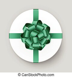 White Box with Green Bow and Ribbon Close up
