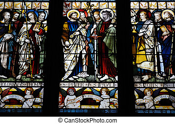 Stained Glass - Stained glass depicting Christian Saints.