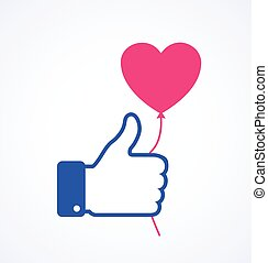 Blue thumb up icon with pink heart balloon. Valentine's day card concept. Valentines day icon