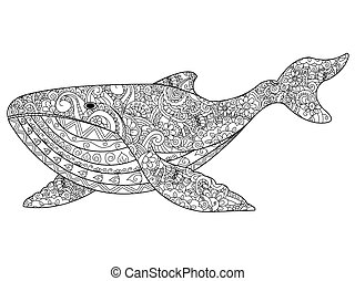 Whale coloring vector for adults - Whale coloring book for...