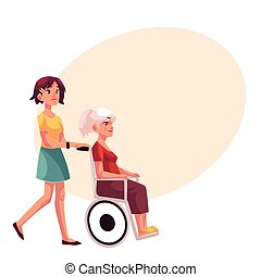 Young woman strolling grandmother in wheelchair, cartoon...