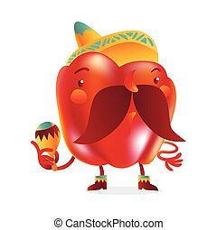 Red bell pepper character with thick moustache and Mexican sombrero,