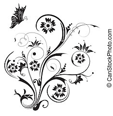 Floral abstraction - Abstract floral chaos with butterfly,...
