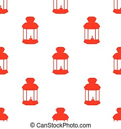 Pattern with silhouettes of lanterns on gray background