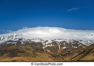 Landscape on Iceland with volcano named Eyjafjallajokull