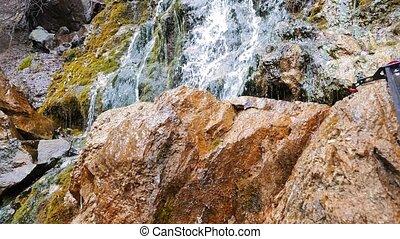 Waterfall. Panorama. Russia. UltraHD (4K)