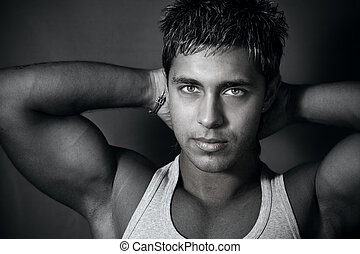 Muscular handsome man - Portrait of muscular handsome young...