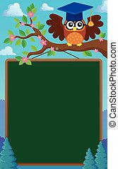 Branch with schoolboard and owl - eps10 vector illustration.