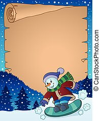 Parchment with snowman on snowboard - eps10 vector...