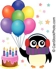 Party penguin theme image 1 - eps10 vector illustration.