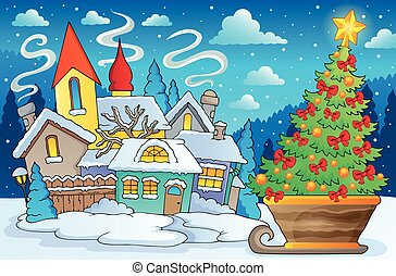 Scenery with Christmas tree on sledge - eps10 vector...