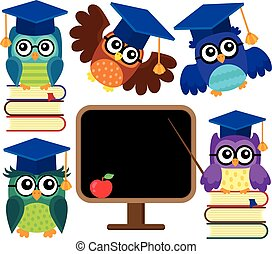 Stylized school owls theme set 1