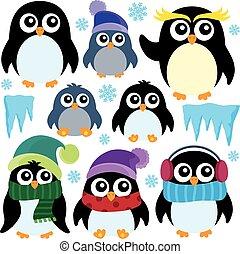 Stylized winter penguins set 1