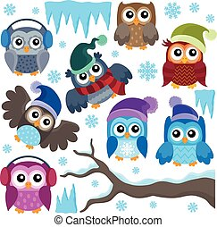 Winter owls thematic
