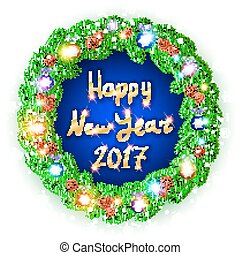 Hppy New Year 2017 Card. Vector. White card with Christmas...