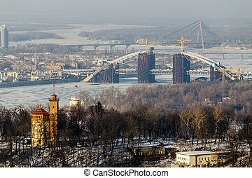 Top View of the Dnipro park and Podolsky bridge in Kiev,...