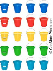 Blue plastic empty bucket with handle for cleaning and housekeeping. Set