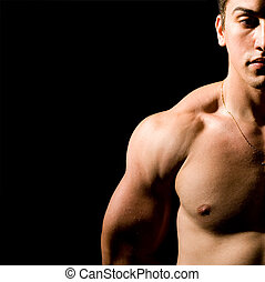 Muscular guy - Half portrait of muscular guy isolated on...