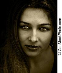 Vintage beautiful woman - Vintage closeup portrait of woman...