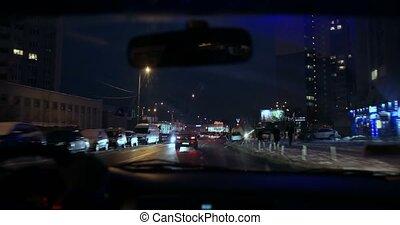Hyperlapse of night driving from inside of car - Hyperlapse...