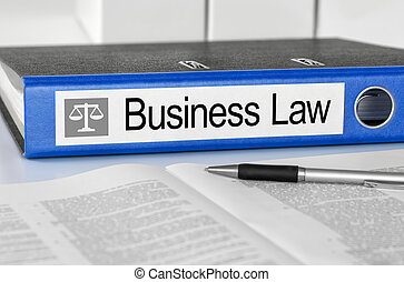 Blue folder with the label Business Law