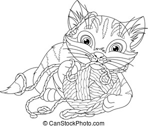 Kitten Coloring Page - Kitten playing with a ball