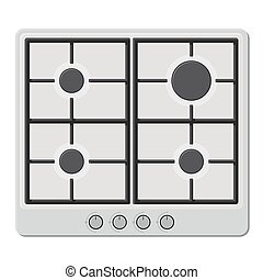 Surface of White Gas Hob Stove. Vector illustration