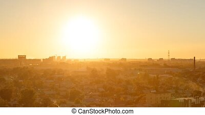 Sunset over the city of Karaganda. Kazakhstan. Panorama. Time Lapse