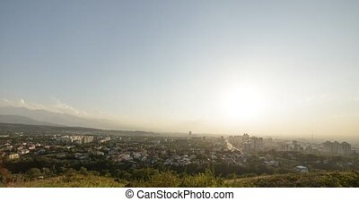 Sunset over Almaty. View from Kok-Tobe. Kazakhstan. UltraHD...