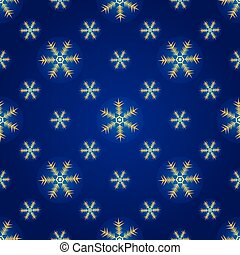 Winter dark blue seamless pattern with gold snowflakes