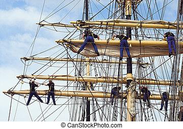 Climbing sailors - Sailors in the mast of an ancient...