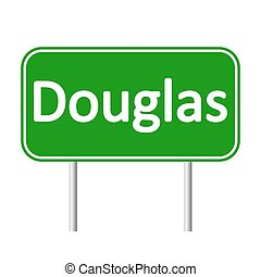 Douglas road sign. - Douglas road sign isolated on white...