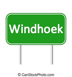 Windhoek road sign. - Windhoek road sign isolated on white...