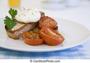 Poached egg on toast - Breakfast or Brunch of Poached egg on...