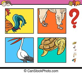 activity game with animals - Cartoon Illustration of...