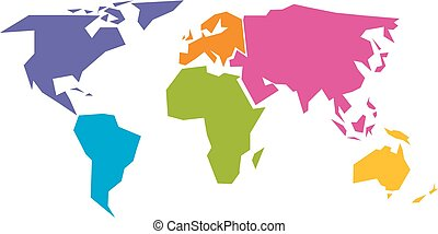 Simplified world map divided to six continents in different colors. Simple flat vector illustration.