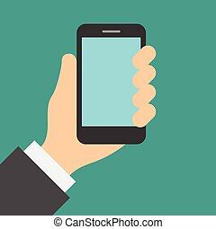 Hand holding cell phone with touch screen.