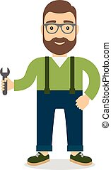 Man with wrench. Flat style vector illustration.
