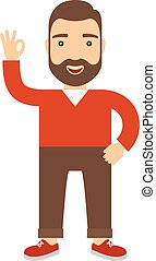 Man with raised hand shows ok. Concept flat cartoon vector...