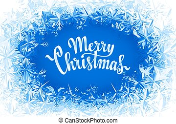 Merry Christmas Lettering in ice frame