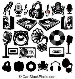set of retro templat for karaoke, disco, party, radio,...