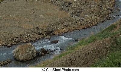 Geysernaya River in Valley of Geysers stock footage video...