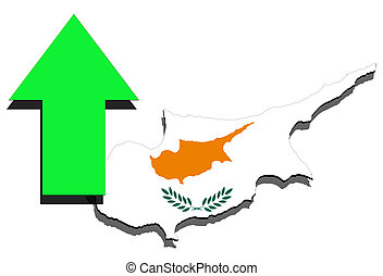 Cyprus map on white background and green arrow up