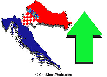 Croatia map on white background and green arrow up