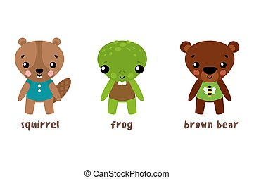 Cartoon animal character set. Frog and bear, squirrel or...