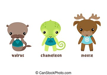 Animal moose and cartoon chameleon, walrus
