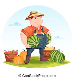 Agrarian or agricultural farmer in field holding vegetables....